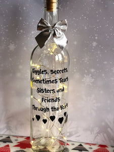 Giggle secrets sometimes tears sisters and friends throughout the years light up wine bottle gift for a sister sisters