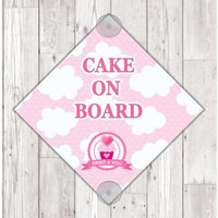 WS01 Cake On Board personalised Car Sign Sticker with suction cups - own design logo added