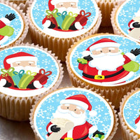 15 Cake Toppers 5cm On Icing cupcake images - ND4 Xmas Christmas Santa