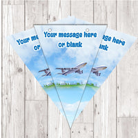 BP121 Airplane Bon Voyage travelling personalised bunting x 10 A5 Flags on tick glossy card with ribbon birthday party