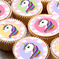 24 Cake Toppers 4cm On Icing cupcake images - ND4 Colourful unicorn