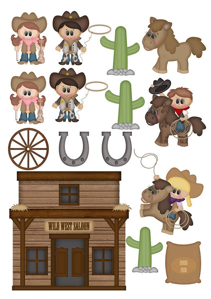 15 Cowboy western Shapes theme Cake Toppers On Icing - simply cut out