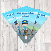BP91 Police cops and robbers personalised bunting x 10 A5 Flags on tick glossy card with ribbon birthday party