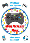 "ND1 xbox gamer controller game birthday Personalised Round Cake Topper approx 7.5"" (or smaller on request) on Icing"