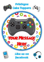 ND1 xbox gamer controller game birthday Personalised Round Cake Topper approx 7.5