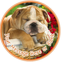 ND1 Dog Bulldog birthday Personalised Round Cake Topper approx 7.5