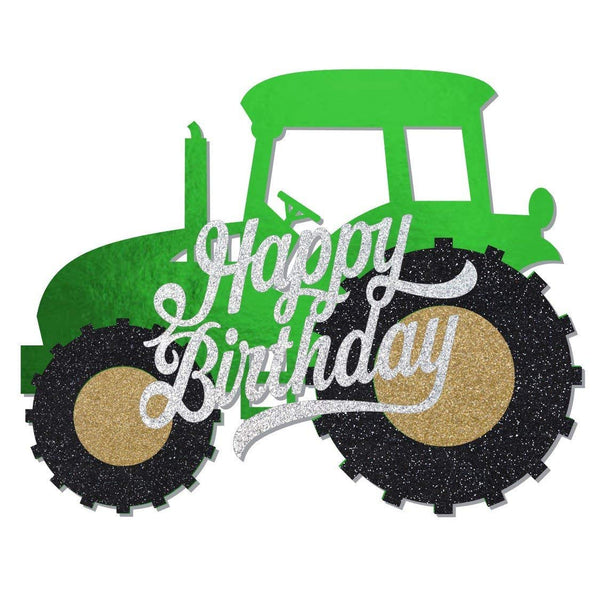 Print4you Green Tractor Happy Birthday Glitter and mirror card standing cake toppers decoration