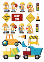 19 Building Builder construction road workers Shapes theme Cake Toppers On Icing - simply cut out