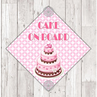 WS12Cake On Board personalised Car Sign Sticker with suction cups - own design logo added