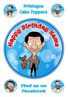 Mr Bean teddy comical funny birthday Personalised Round Cake Topper approx 7.5