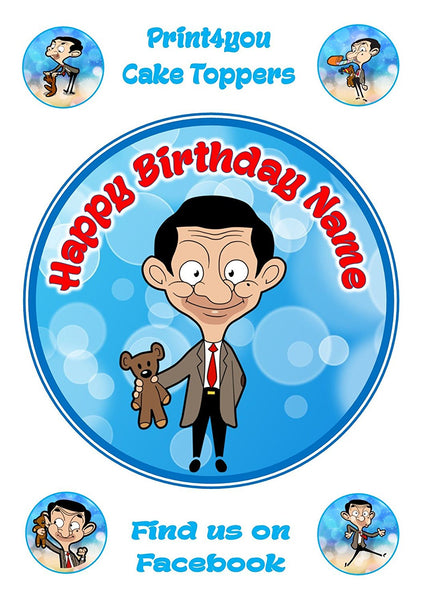 "Mr Bean teddy comical funny birthday Personalised Round Cake Topper approx 7.5"" (or smaller on request) on Icing"
