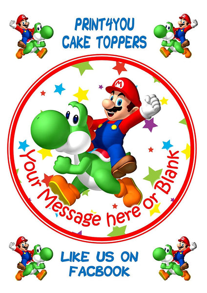 "ND1 Mario and Yoshi birthday Personalised Round Cake Topper approx 7.5"" (or smaller on request) on Icing"