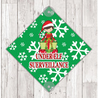 WS03 Elf on the shelf under surveillance window Sign Sticker with suction cups Father Xmas Christmas