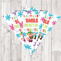BP131 Buddy the Elf xmas Christmas bunting x 10 A5 Flags on tick glossy card with ribbon birthday party