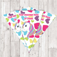 BP97 Unicorn personalised bunting x 10 A5 Flags on tick glossy card with ribbon birthday party
