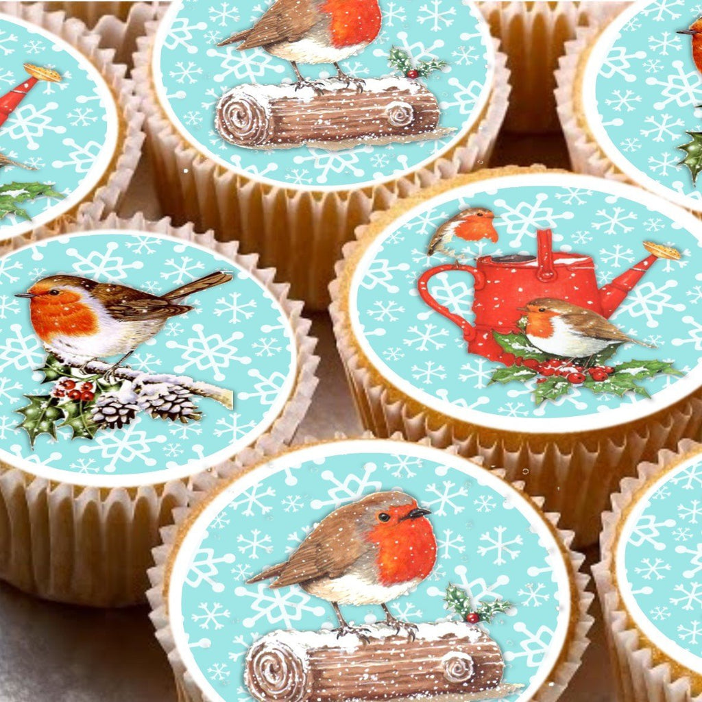 15 Cake Toppers 5cm On Icing cupcake images - ND5 Xmas Christmas Robins