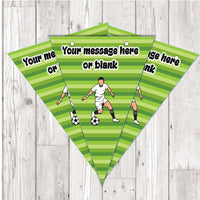 BP104 Football footballer personalised bunting x 10 A5 Flags on tick glossy card with ribbon birthday party