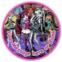 ND2 Monster High can be Personalised Round Cake Topper approx 7.5