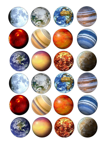 24 Cake Toppers 4cm On Icing - ND1 Solar system planets space