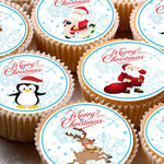 15 Cake Toppers 5cm On Icing cupcake images - ND1 Xmas Christmas Santa