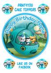 "ND2 The Octonauts birthday Personalised Round Cake Topper approx 7.5"" (or smaller on request) on Icing"