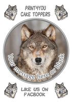 Nd3 Wolf birthday Personalised Round Cake Topper approx 7.5