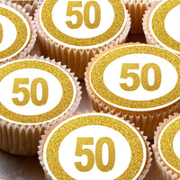 24 Cake Toppers 4cm On Icing - Gold effect 50th cupcake images