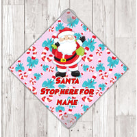 WS05 Santa please stop here for Pink Girls personalised window Sign Sticker with suction cups Father Xmas Christmas