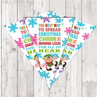 BP129 Xmas Christmas Buddy the elf bunting x 10 A5 Flags on tick glossy card with ribbon birthday party
