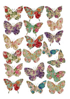 19 Cake Toppers approx 4cm On Icing - mixed floral print butterflies butterfly