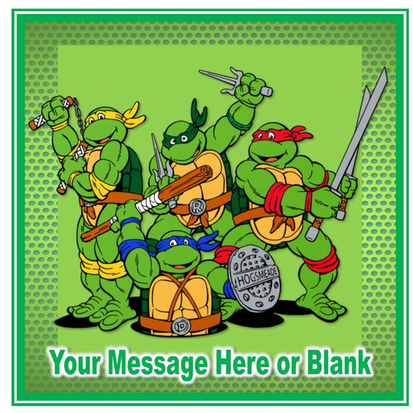 "TMNT Teenage Mutant Ninja Turtles Happy Birthday square Personalised Cake Topper approx 7.5"" (or smaller on request) on Icing"