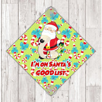 WS04 I'm on Santa's good list Christmas xmas window Sign Sticker with suction cups Father Xmas Christmas