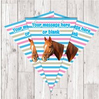 BP123 Horse personalised bunting x 10 A5 Flags on tick glossy card with ribbon birthday party