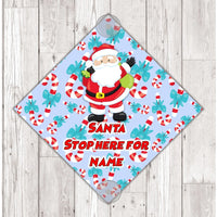 WS06 Santa please Stop Here for boys blue personalised window Sign Sticker with suction cups Father Xmas Christmas