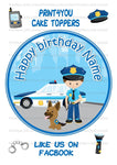 "ND2 Cartoon police pliceman dog birthday Personalised Round Cake Topper approx 7.5"" (or smaller on request) on Icing"