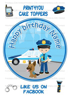 ND2 Cartoon police pliceman dog birthday Personalised Round Cake Topper approx 7.5