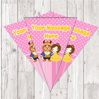 BP79 Beauty and the Beast personalised bunting x 10 A5 Flags on tick glossy card with ribbon birthday party