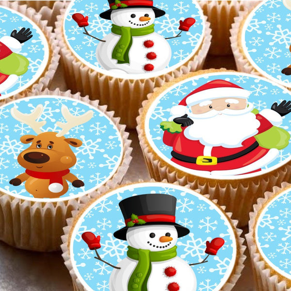 15 Cake Toppers 5cm On Icing cupcake images - ND3 Xmas Christmas Santa