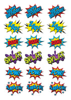 18 Pow super hero actin words Shapes theme Cake Toppers On Icing - simply cut out