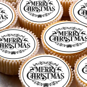 15 Cake Toppers 5cm On Icing cupcake images - ND2 Xmas Merry Christmas Santa