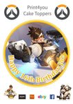 "ND31 Overwatch xbox ps game birthday Personalised Round Cake Topper approx 7.5"" (or smaller on request) on Icing"