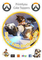 ND31 Overwatch xbox ps game birthday Personalised Round Cake Topper approx 7.5