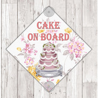 WS08 Cake On Board personalised Car Sign Sticker with suction cups - own design logo added