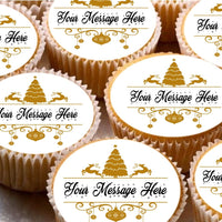 24 Cake Toppers 4cm On Icing cupcake images - Fancy personalised Xmas Christmas