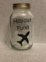 Glass jar money saving box fund gift - Holiday vacation fund