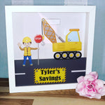 "Construction digger builders Money Box Frame 10"" 25cm x 25cm Birthday gift Boys Son Dad personalised"