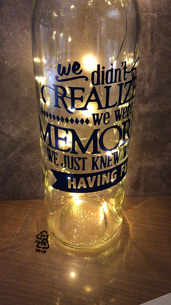 We didnt realise we was making memories we knew we was having fun ...... light up wine bottle gift for grandparents