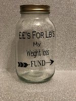 Glass jar money saving box fund gift friend sister mum - £'s for lbs weight loss weight watchers slimming world