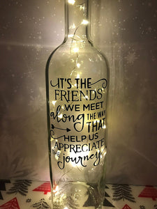 Its the friends we meet along the way gift present light up wine bottle