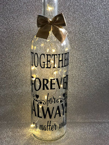 Together forever for always - wedding valentines engagement gift light up glass wine bottle complete with lights